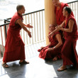 Monks Debating at Home Of Dalai Lama, India - Stock Photo