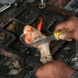 Stock Photo: Goat Hoof Cooking - Mcleod Ganj, India