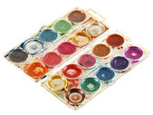 Old watercolour paints palette. Isolated on a white — Stock Photo