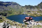Mountain scenery with Balea lake from Romania — Stock Photo
