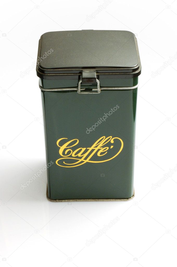 Green metallic coffee box - italian style — Stock Photo #11146187