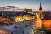 Night panorama of Royal Castle in Warsaw — Stock Photo