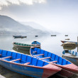 Boats on Fewa Lake in Pokhara, Nepal — Stock Photo