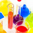 Chemical flasks with color liquids — Stock Photo