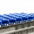 Mini glass test tubes with blue caps — Stock Photo #12174888