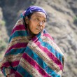 Portrait of tibetan woman in Himalaya Mountains - Foto Stock