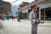 Nepalese pupil on Kathmandu street — Stock Photo