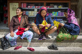 Three Nepalese women in the traditional clothes — Stock Photo