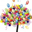 Cartoon party tree with baloons, gifts, boxes for happy event and holiday — Stock Vector