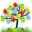 Stock Vector: Cartoon easter tree with eggs and grass