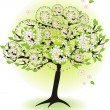Season tree for spring with leafs and flowers — Stock Vector #11029979