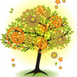 Season tree for summer with leafs and flowers — Stock Vector #11029982