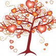 Love tree with red hearts for valentine day — Stock Vector