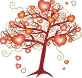Love tree with red hearts for valentine day — Vecteur