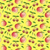 Apple en cherry - naadloze patroon en abstracte aard achtergrond — Stockvector