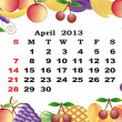 April - monthly calendar 2013 in frame with fruits — Stock Vector