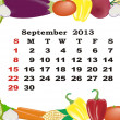 September - monthly calendar 2013 in frame with vegetables - Stock Vector