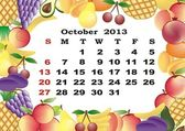 October - monthly calendar 2013 in frame with fruits — Stock Vector