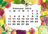 February - monthly calendar 2013 in frame with fruits and vegetables — Stock Vector