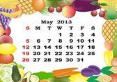 Mayo - calendario mensual 2013 en marco con frutas y verduras — Vector de stock