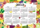Vector calendar 2013 in colorful frame — Stock Vector