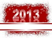 Christmas and new year card with 2013 on a red winter background — Stockvektor