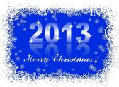 Christmas and new year card with 2013 on a blue winter background — Stock Vector