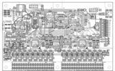 Monochrome topology of a printed circuit board — Zdjęcie stockowe