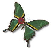 Dominica flag on butterfly — Stock Photo