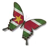 Republiek suriname vlag op vlinder — Stockfoto