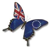 Bandera de islas cook en mariposa — Foto de Stock