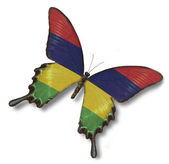 Mauritius flag on butterfly — Stock Photo