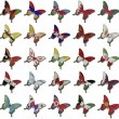 Collage from Asian flags on butterflies - Stock Photo