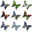 Collage from Australia and Oceania flags on butterflies — Stock Photo