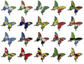 Collage from African flags on butterflies — Stock Photo
