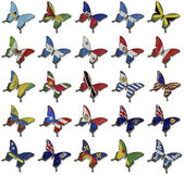 Collage from American flags on butterflies — Stockfoto