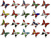 Collage from Asian flags on butterflies — Stock Photo