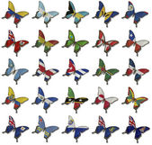 Collage from American flags on butterflies — Stock Photo