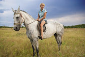Girl and gray horse — Stock Photo