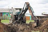 挖掘机在街头村 — 图库照片