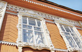 Element of Old Russian architecture of the end of nineteenth century. Window decoration. — Stock Photo