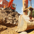 Excavator is digging a pit — Stock Photo