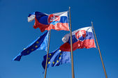 Flags of Slovakia and European Union — Stock Photo