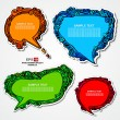 Royalty-Free Stock Vector Image: Set of retro, multicolored, speech bubbles and stickers with floral elements for decoration and design