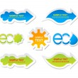 Vector green and blue eco, bio stickers and banners — Stock Vector