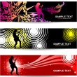 Stock Vector: Banners with abstract background on music and concert theme