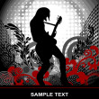 Guitarist on an abstract background, vector poster on the theme music - Stock Vector