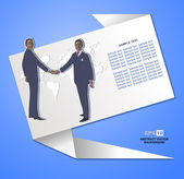 Abstract background with origami banner and business shaking hands over a deal — Stock Vector