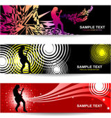 Banners with abstract background on music and concert theme — Stock Vector
