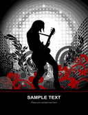 Guitarist on an abstract background, vector poster on the theme music — ストックベクタ